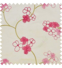 Pink cream color beautiful summer Japanese flower with embroidery designs transparent base fabric poly main curtain