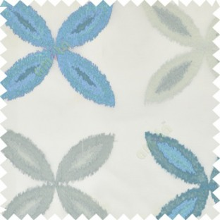 Blue grey color big ikat flower traditional embroidery pattern with polyester background fabric on cream base sheer curtain