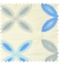 Blue grey color big ikat flower traditional embroidery pattern with polyester background fabric on cream base main curtain