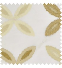 Brown cream color big ikat flower traditional embroidery pattern with polyester background fabric on cream base sheer curtain