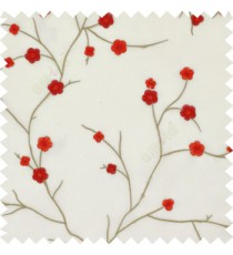 Red color flowers embroidery patterns Japanese blossom with polyester background sheer curtain