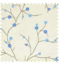 Aqua blue grey color flowers embroidery patterns Japanese blossom with polyester background main curtain