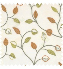 Green and copper orange color small summer leaf beige background embroidery patterns with polyester background sheer curtain