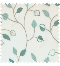 Blue grey color small summer leaf beige background embroidery patterns with polyester background sheer curtain