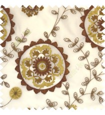 Copper brown beige color beautiful traditional embroidery flowers leave floral buds with polyester transparent fabric sheer curtain