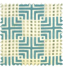 Aqua blue union jack with small squares embroidery patterns with polyester background fabric sheer curtain