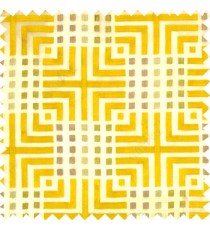 Yellow purple cream union jack with small squares embroidery patterns with polyester background fabric sheer curtain