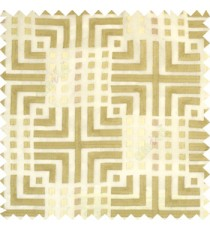 Beige cream union jack with small squares embroidery patterns with polyester background fabric sheer curtain