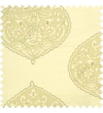Large Beige cream drop shadow embroidery damask design on white transparent background main curtain
