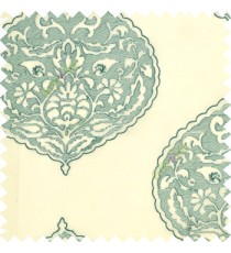 Large aqua blue drop shadow embroidery damask design on white transparent background sheer curtain