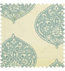 Large aqua blue drop shadow embroidery damask design on white thick background main curtain