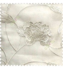 Beautiful natural white and cream color rose flower with long leaf embroidery floral pattern tendril flower poly fabric sheer curtain