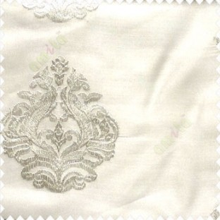 Pure white color beautiful embroidery damask design traditional pattern embossed fines work with net backgound poly fabric main curtain