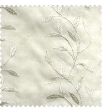 Natural pure white elegant look floral leaf pattern long height floral leaf stem embroidery zigzag stitched designs poly fabric sheer curtain