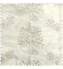 Pure white color floral leaf pattern bunch of round small leaf on stem embroidery pattern poly fabric sheer curtain