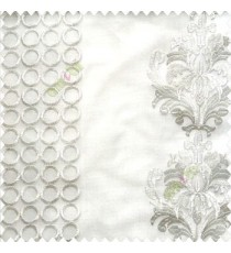 Pure white traditional damask vertical circles stripes geometric designs embroidery poly fabric sheer curtain