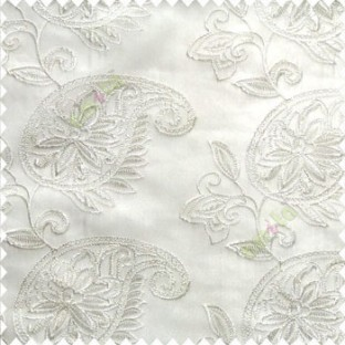 Pure white color traditional paisley design leaf swirls star flower zigzag stitched with net background poly fabric sheer curtain