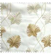 Beautiful natural brown cream white color floral design embroidery curved flower layers with long thin stem poly fabric sheer curtain