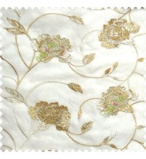 Beautiful natural beige white color rose flower with long leaf embroidery floral pattern tendril flower poly fabric sheer curtain