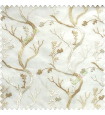 Pure beige cream white color natural old tree floral cotton buds branches flowing designs net background embroidery patterns poly fabric sheer curtain