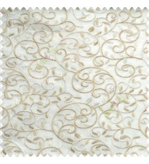 Beige cream white color beautiful embroidery swirl pattern leaf spring zigzag stitched designs poly fabric sheer curtain