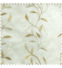 Beige cream white elegant look floral leaf pattern long height floral leaf stem embroidery zigzag stitched designs poly fabric sheer curtain