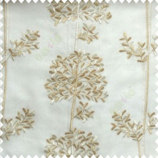 Beige white cream color floral leaf pattern bunch of round small leaf on stem embroidery pattern poly fabric sheer curtain