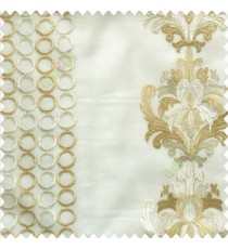 Brown cream white traditional damask vertical circles stripes geometric designs embroidery poly fabric sheer curtain