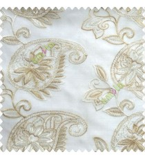 Beige cream color traditional paisley design leaf swirls star flower zigzag stitched with net background poly fabric sheer curtain