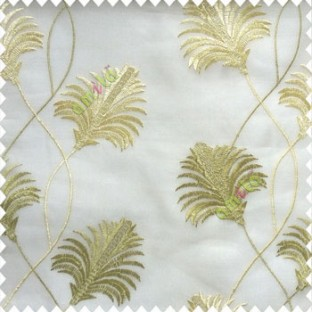 Beautiful natural green cream white color floral design embroidery curved flower layers with long thin stem poly fabric sheer curtain