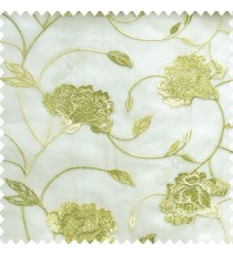Beautiful natural green cream color rose flower with long leaf embroidery floral pattern tendril flower poly fabric sheer curtain