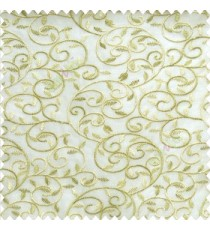 Green beige cream color beautiful embroidery swirl pattern leaf spring zigzag stitched designs poly fabric sheer curtain