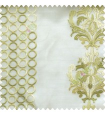Green cream white traditional damask vertical circles stripes geometric designs embroidery poly fabric sheer curtain