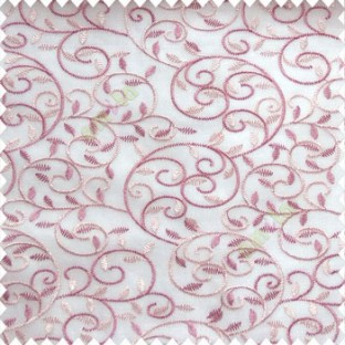Pink peach color beautiful embroidery swirl pattern leaf spring zigzag stitched designs poly fabric sheer curtain