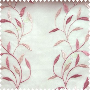 Dark pink and light pink color combination elegant look floral leaf pattern long height floral leaf stem embroidery zigzag stitched designs poly fabric sheer curtain