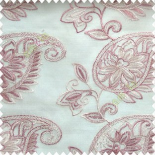 Pink cream color traditional paisley design leaf swirls star flower zigzag stitched with net background poly fabric sheer curtain