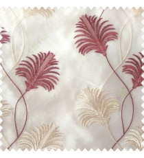 Beautiful natural maroon cream white color floral design embroidery curved flower layers with long thin stem poly fabric sheer curtain