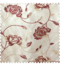 Beautiful natural maroon cream white color rose flower with longleaf embroidery floral pattern tendril flower poly fabric sheer curtain