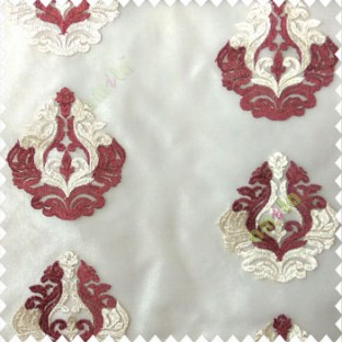 Maroon cream color beautiful embroidery damask design traditional pattern embossed fines work with net background poly fabric main curtain