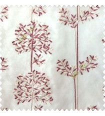 Maroon cream white color floral leaf pattern bunch of round small leaf on stem embroidery pattern poly fabric sheer curtain