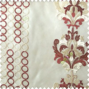 Maroon cream white color combination traditional damask vertical circles stripes geometric designs embroidery poly fabric sheer curtain