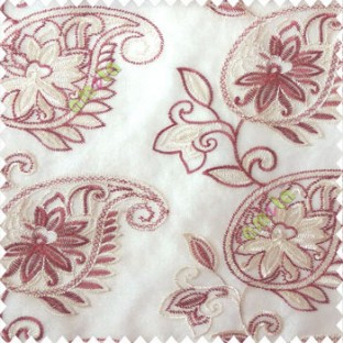 Maroon cream white color traditional paisley design leaf swirls star flower zigzag stitched with net background poly fabric sheer curtain