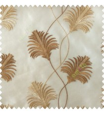 Beautiful natural brown beige color floral design embroidery curved flower layers with long thin stem poly fabric sheer curtain