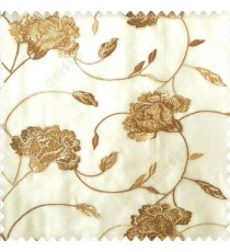 Beautiful natural brown beige color rose flower with longleaf embroidery floral pattern tendril flower poly fabric sheer curtain