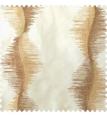 Brown beige color vertical flowing lines sound vibration effect horizontal thread graph lines embroidery finished patterns poly fabric sheer curtain