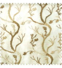 Brown beige cream color combination natural old tree floral cotton buds branches flowing designs net background embroidery patterns poly fabric sheer curtain