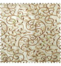 Brown beige color beautiful embroidery swirl pattern leaf spring zigzag stitched designs poly fabric sheer curtain