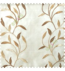 Brown beige color combination elegant look floral leaf pattern long height floral leaf stem embroidery zigzag stitched designs poly fabric sheer curtain