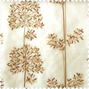 Brown beige color floral leaf pattern bunch of round small leaf on stem embroidery pattern poly fabric sheer curtain