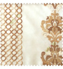 Brown beige color combination traditional damask vertical circles stripes geometric designs embroidery poly fabric sheer curtain